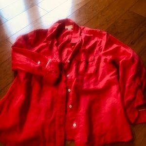 Lucy & Laurel Anthropologie linen red blouse top m